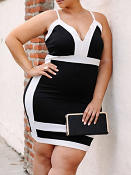 Plus Size V-Neck Patchwork Sleeveless Spaghetti Strap Women's Bodycon Dress
