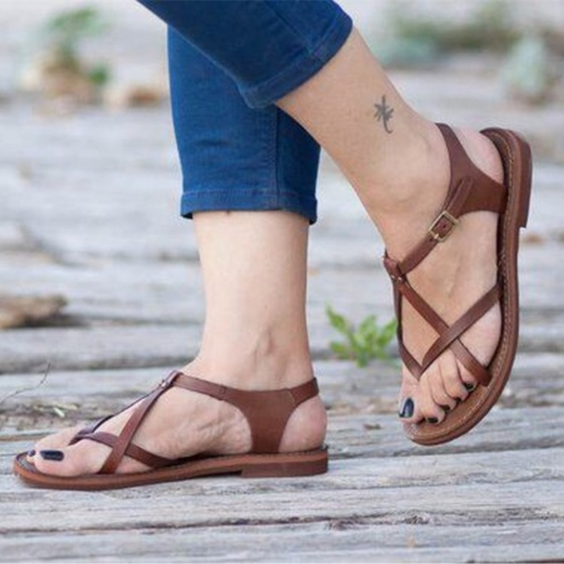 Buckle Block Heel Thong Women's Sandals