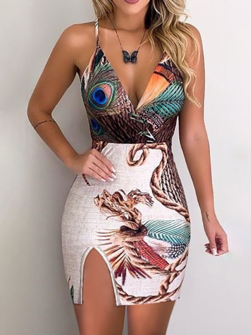 Sleeveless V-Neck Backless Spaghetti Strap Women's Bodycon Dress