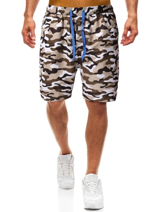 Thin Print Camouflage Straight Lace-Up Men's Casual Pants