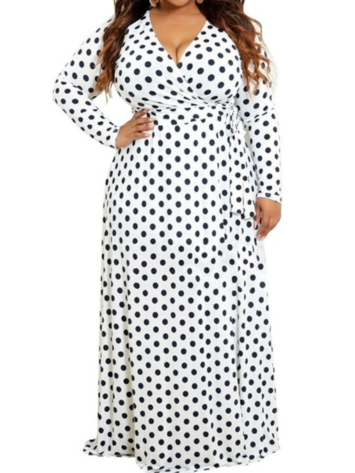 Plus Size Long Sleeve Print V-Neck Regular Women's Maxi Dress
