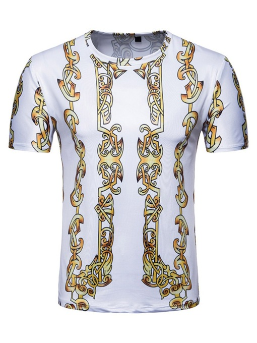 adee4458 African Fashion Round Neck Casual Print Color Block Short Sleeve Tight Men's  T-shirt
