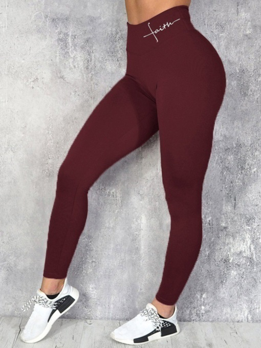Waist Letter Breathable Women's Leggings
