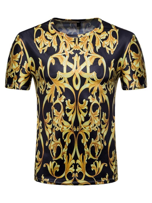 Foral Print Color Block Round Neck Casual Straight Slim Fit Men's T-shirt