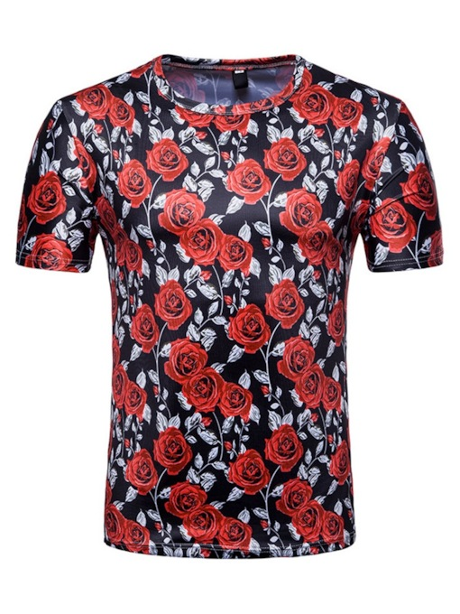 Rose Floral Print Color Block Round Neck Casual Straight Short Sleeves Men's T-shirt