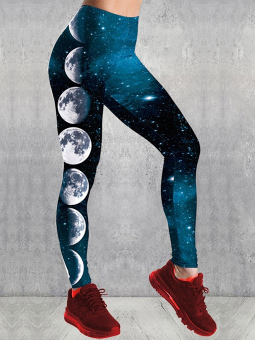 Workout Blue Star Moon Print Workout Leggings