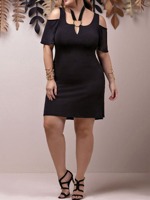 Plus Size Short Sleeve Above Knee Hollow Plain Women's Dress