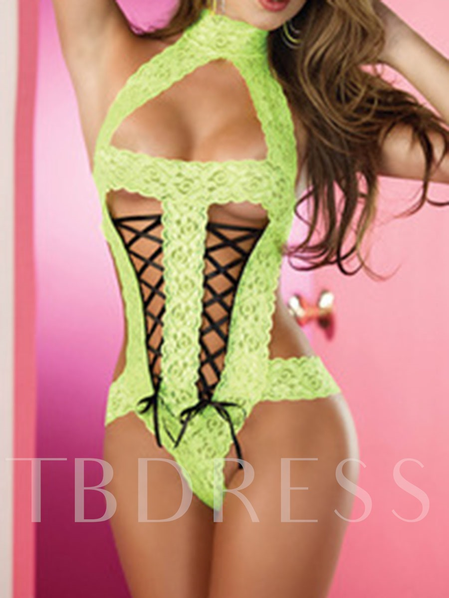 Lace Backless Floral Tight Wrap Sleeveless Teddy