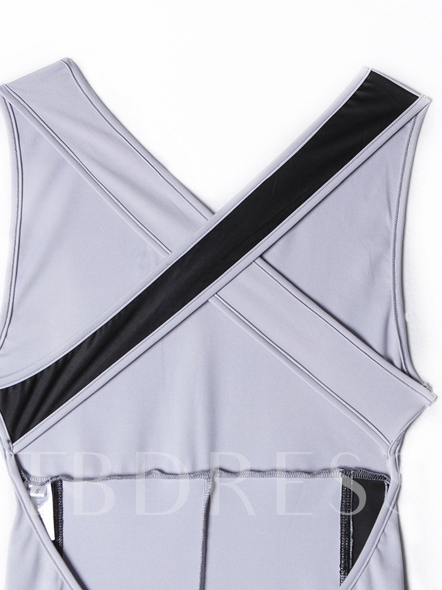 Women's One-Piece Cross Belt Color Block Workout Bodysuit