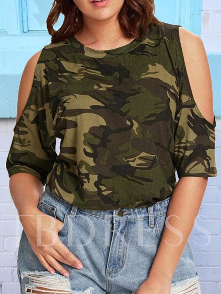 Half Sleeve Camouflage Round Neck Plus Size Women's T-Shirt