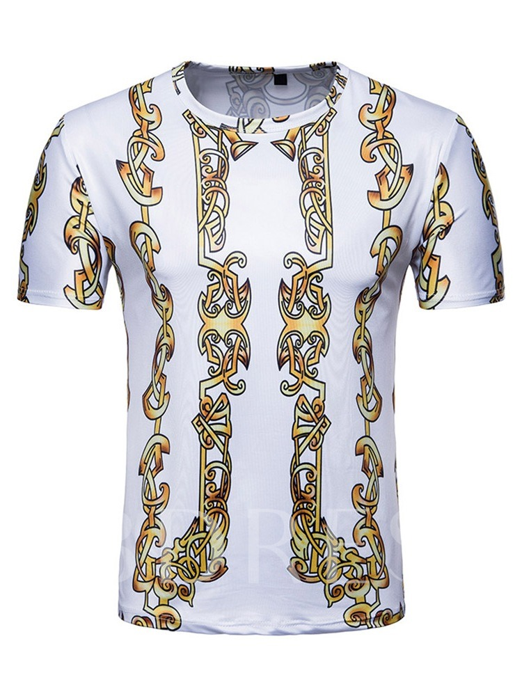 African Fashion Round Neck Casual Print Color Block Short Sleeve Tight Men's T-shirt