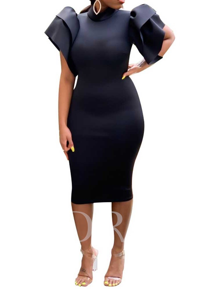 Short Sleeve Turtleneck Falbala Sheath Women's Bodycon Dress