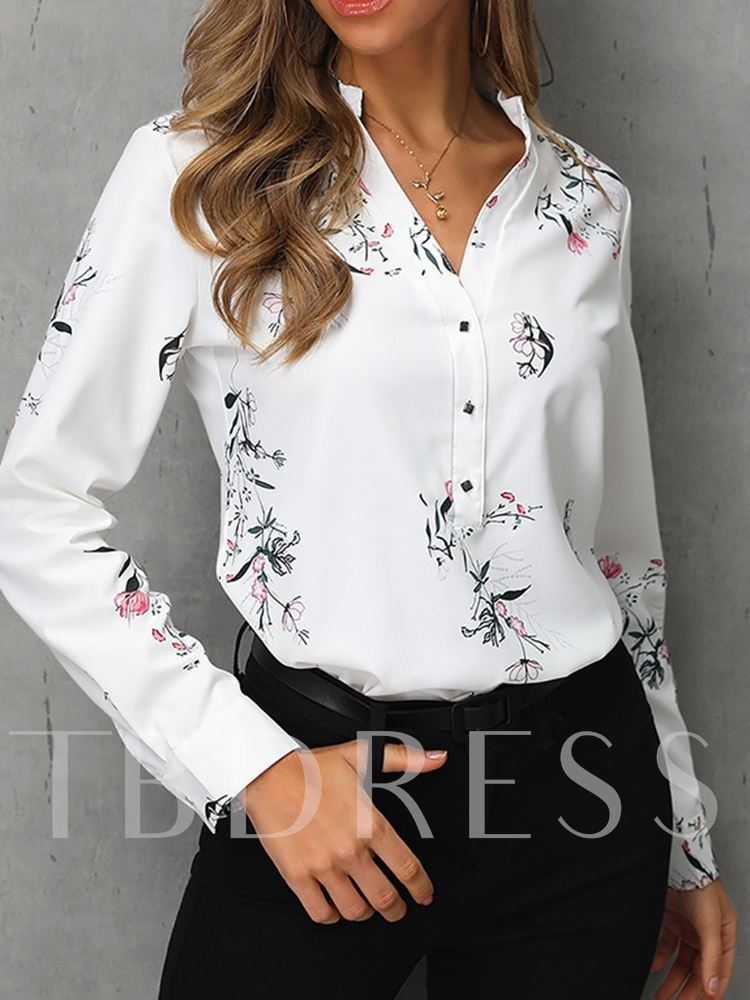 V-Neck Print Color Block Regular Long Sleeve Women's Shirt