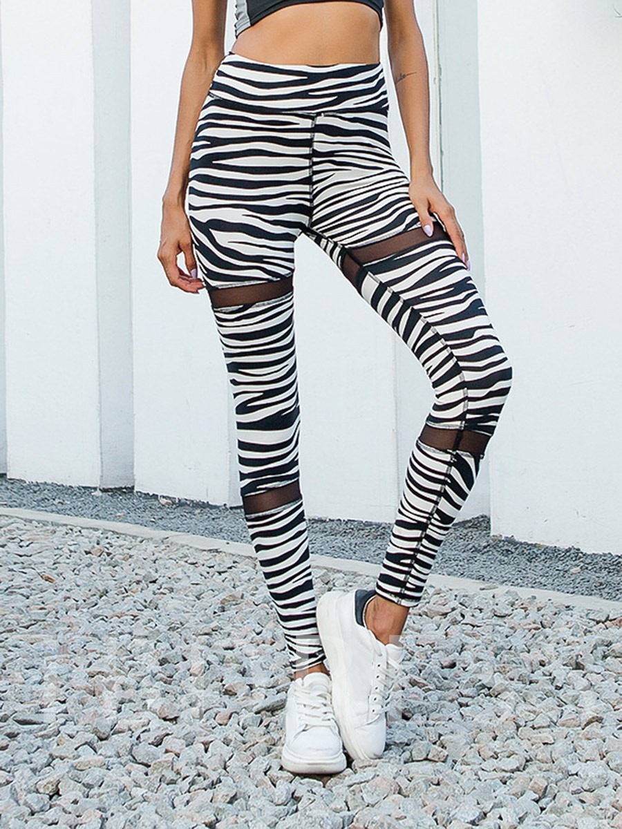 Women's Mesh Zebra Stripe Sports Leggings