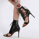 Stiletto Heel Open Toe Lace-Up Cross Strap Sexy Sandals