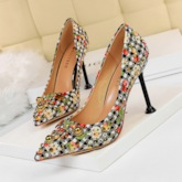 Rhinestone Stiletto Heel Slip-On Pointed Toe Plaid Pumps