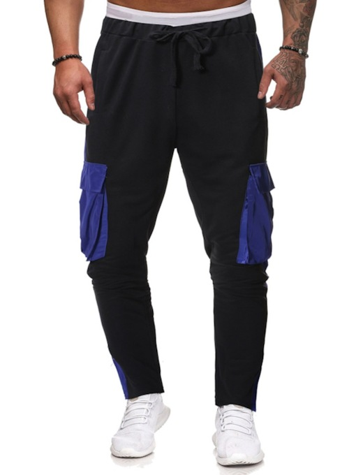 Thin Color Block Lace-Up Overall Casual Men's Casual Pants