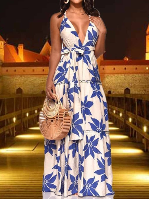 Print Floor-Length V-Neck Sleeveless A-Line Women's Maxi Dress