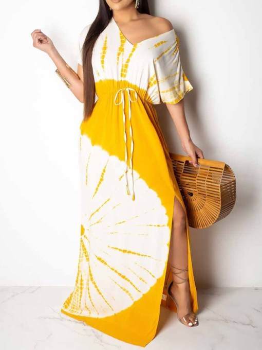 Print Short Sleeve Floor-Length V-Neck Color Block Women's Maxi Dress