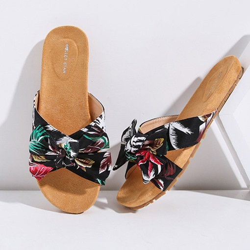 Slip-On Floral Print Flat Sandals for Women
