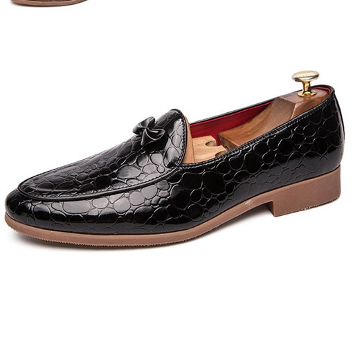 Slip-On Flat Heel Bowknot Embossed Leather Men's Dress Shoes