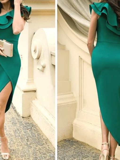 Ruffles Sheath One Shoulder Asymmetry Cocktail Dress 2019