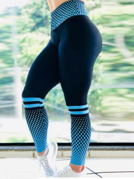 Plaid Stripe Print Full Length Sports Casual Women's Leggings