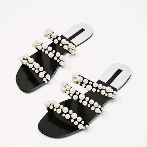 Slip-On Beads Block Heel Decorated Women's Slippers