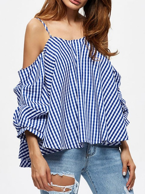 Color Block Backless Three-Quarter Sleeve Women's Blouse