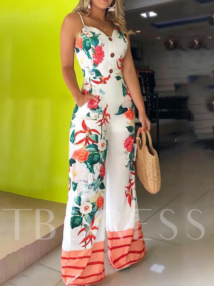 Floral Full Length Print Office Lady Slim Women's Jumpsuit