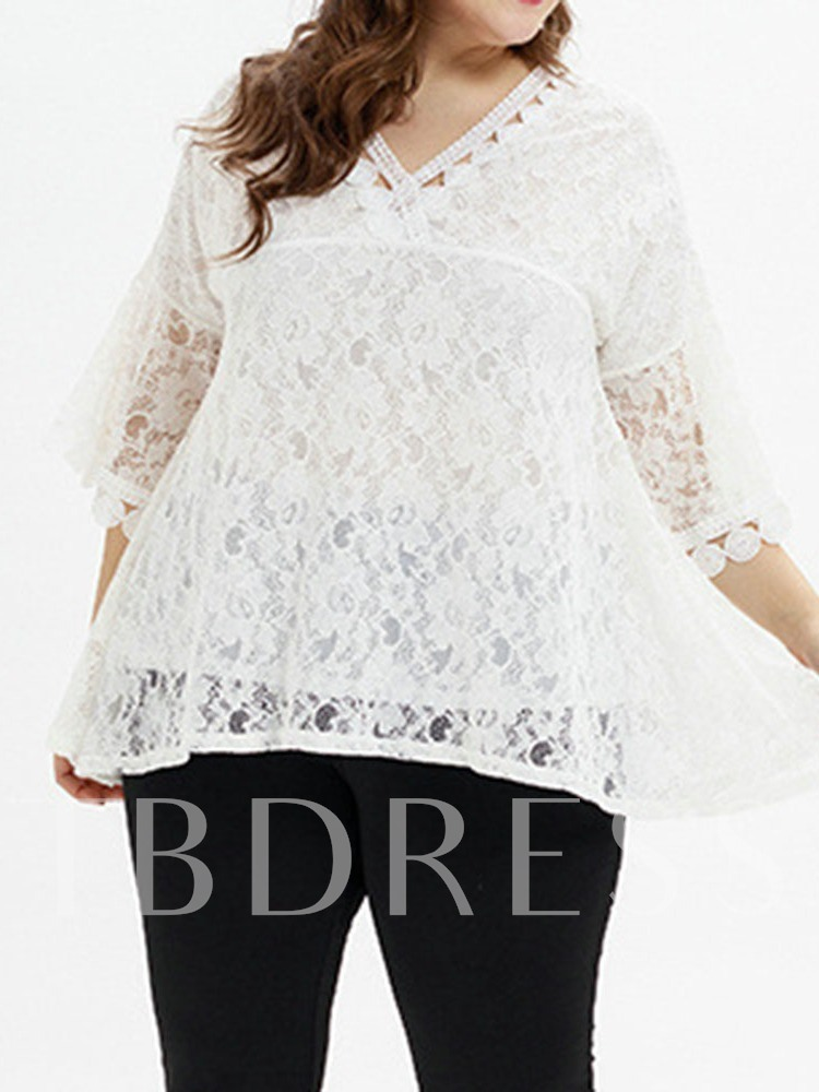 Plus Size Lace V-Neck Plain Three-Quarter Sleeve Women's Blouse