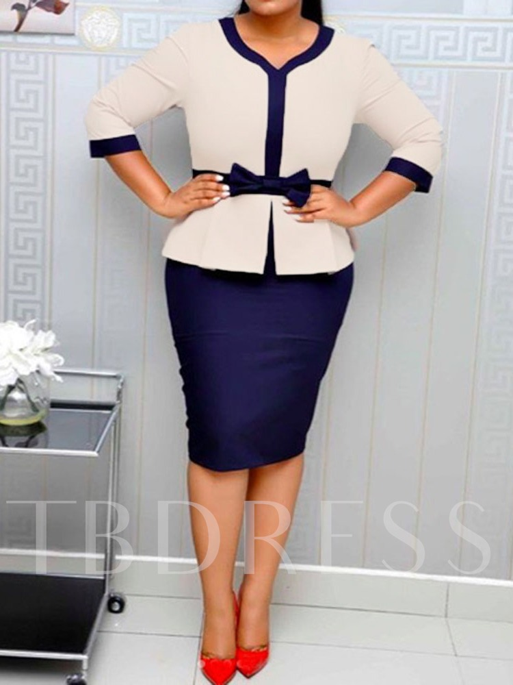 Color Block Skirt Western Bowknot V-Neck Women's Two Piece Sets