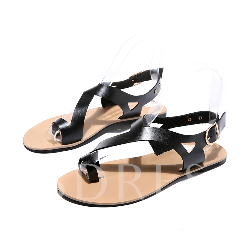 Toe Ring Buckle Slingback Strap Thread Women's Sandals