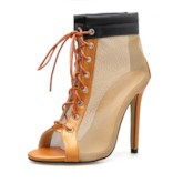 See-Through Lace-Up Peep Toe Stiletto Heel Sandals Boots