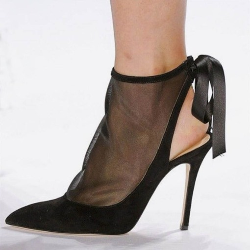 Lace-Up Stiletto Heel Pointed Toe See-Through Sandals