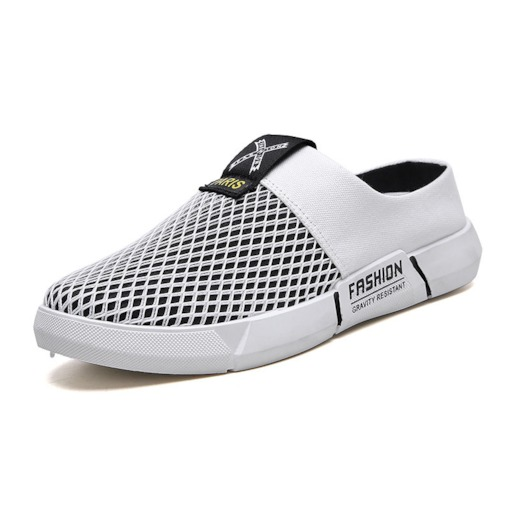 Low-Cut Upper Letter Slip-On Mesh Men's Casual Shoes