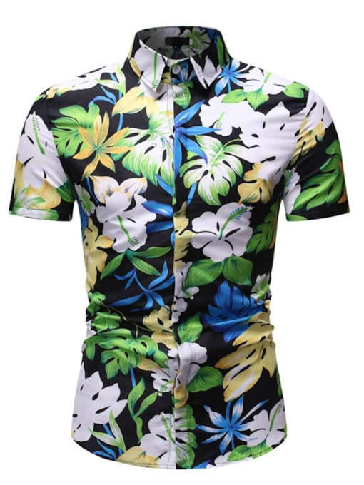 Hawaiian Beach Tops Lapel Casual Color Block Button Single-Breasted Men's Shirt