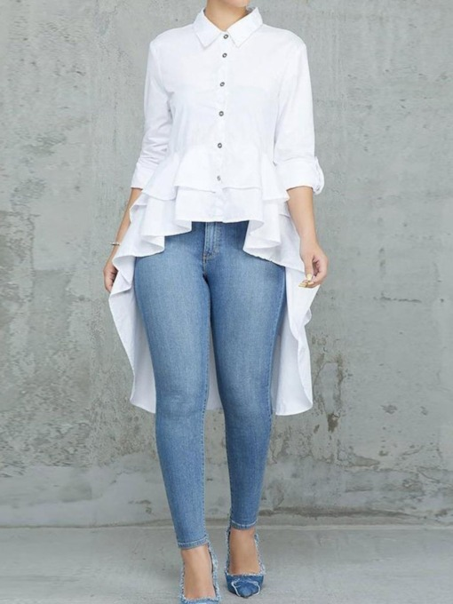 Lapel Plain Asymmetric Long Women's Blouse