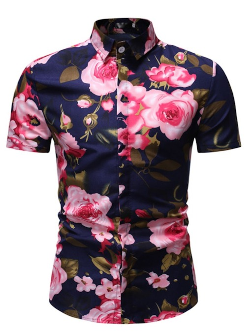 353275c6 Hawaiian Style Comfort Tops Floral Casual Button Lapel Summer Men's Shirt