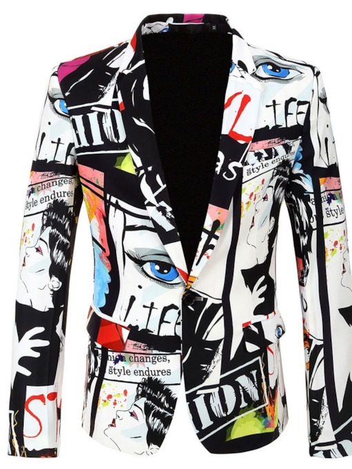 Mens Fashion Print Color Block Button Lapel Men's Party Show leisure Suit