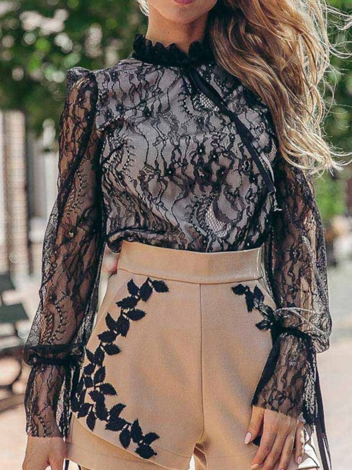Plain Lace Pattern See-Through Long Sleeve Women's Blouse