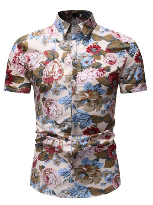 Lapel Plant Casual Print Slim Men's Shirt