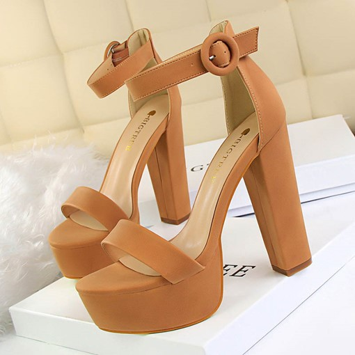 Heel Covering Buckle Open Toe Chunky Heel Women's Sandals