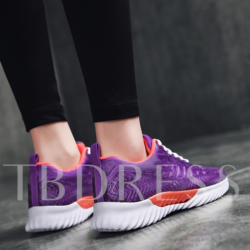 Round Toe Lace-Up Candy Color Women's Sneakers