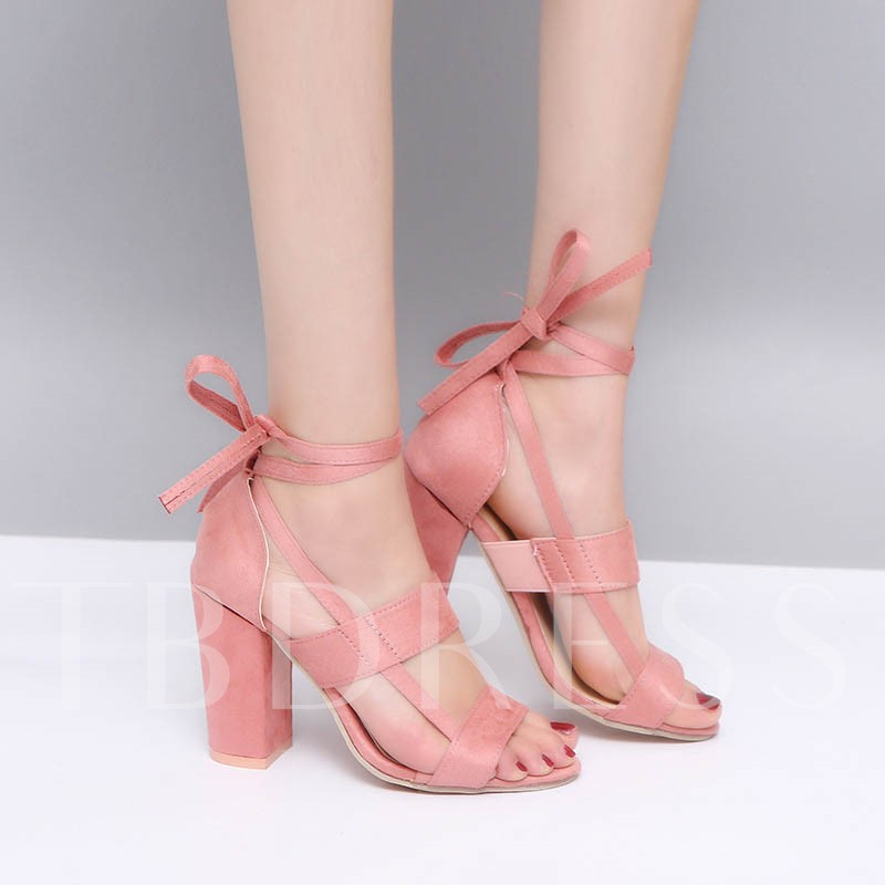 Heel Covering Open Toe Lace-Up Chunky Heel Hollow Sandals