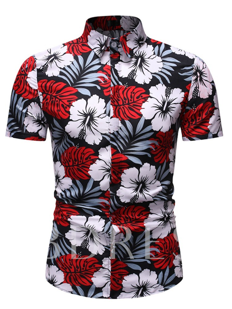 Color Block Floral Stand Collar Print Casual Slim Short Sleeves Men's Shirt