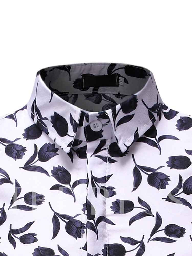 Slim Fit Stylish Floral Print Lapel Casual Print Summer Men's Shirt