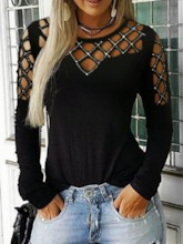 Round Neck Standard Long Sleeve Color Block Loose Women's T-Shirt