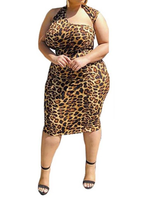 Plus Size Print Oblique Collar Mid-Calf Sleeveless Leopard Women's Dress