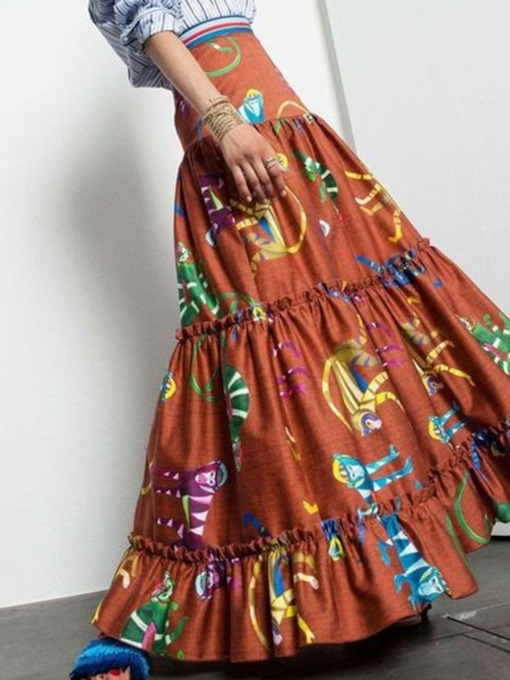 Print Floor-Length A-Line Color Block Western Women's Skirt